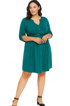 Womens V-neck Half Sleeve Plus Size Belt Plain Shirt Dress Green