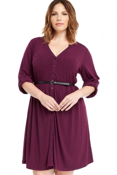 Womens V-neck Half Sleeve Plus Size Belt Plain Shirt Dress Purple