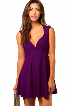 Womens Deep V-neck Cut Out Back Sleeveless Skater Dress Purple