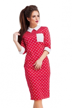 Womens Turndown Collar Half Sleeve Printed Pocket Midi Dress Red