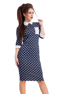 Womens Turndown Collar Half Sleeve Printed Midi Dress Sapphire Blue