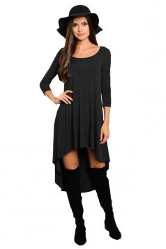 Womens Plain High Low Pleated Long Sleeve Smock Dress Black