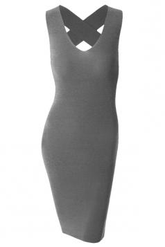 Womens Cross Bandage Cutout Back Sleeveless Bodycon Dress Gray
