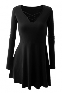 Womens Cross Lace-up Neckline Long Sleeve Plain Skater Dress Black