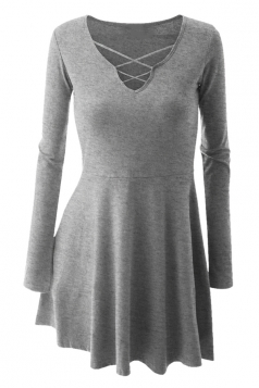 Womens Cross Lace-up Neckline Long Sleeve Skater Dress Light Gray