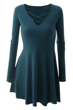Womens Cross Lace-up Neckline Long Sleeve Plain Skater Dress Turquoise