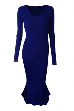 Womens V-neck Long Sleeve Mermaid Bodycon Dress Blue