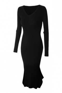 Womens V-neck Long Sleeve Mermaid Bodycon Dress Black