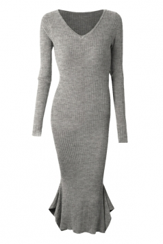 Womens V-neck Long Sleeve Mermaid Bodycon Dress Gray
