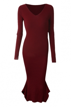 Womens V-neck Long Sleeve Mermaid Bodycon Dress Ruby