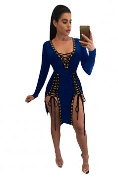 Womens Deep V Neck Sides Lace-up Long Sleeve Clubwear Dress Blue