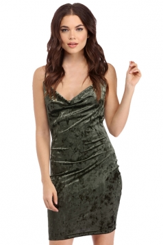 Womens Spaghetti Straps Backless Plain Bodycon Clubwear Dress Green
