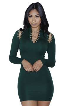 Womens Cross Lace Up Cold Shoulder Long Sleeve Clubwear Dress Green