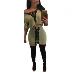 Womens Short Sleeve Cross Lace-up Clubwear Skirt Suit Green