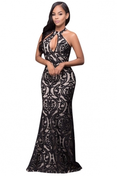 Womens Halter Sleeveless Floral Patterned Maxi Evening Dress Black