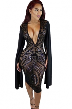 Womens Plunging Neck Open Sleeve Sequined Clubwear Dress Black