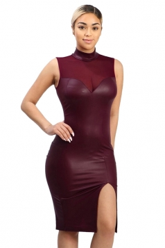 Womens Mesh Patchwork Faux Leather Side Slit Sleeveless Dress Ruby