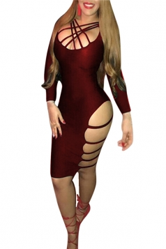 Womens Strappy Asymmetric Side Cut Out Long Sleeve Clubwear Dress Ruby
