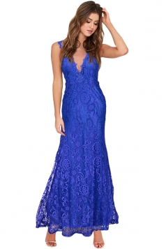 Womens Lace V-neck Backless Sleeveless Maxi Evening Dress Blue