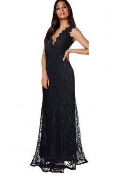 Womens Lace V-neck Backless Sleeveless Maxi Evening Dress Black