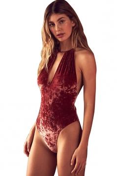 Womens Halter Sleeveless Plain Open Back Pleuche Bodysuit Ruby