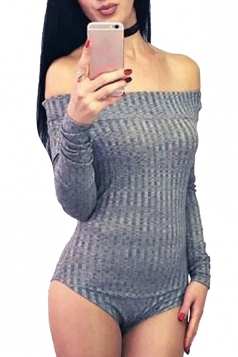 Womens Off Shoulder Long Sleeve Plain One Piece Bodysuit Gray