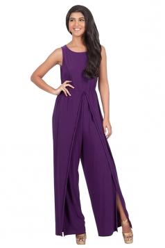 Womens High Waist Side Slit Plain Sleeveless Palazzo Jumpsuit Purple