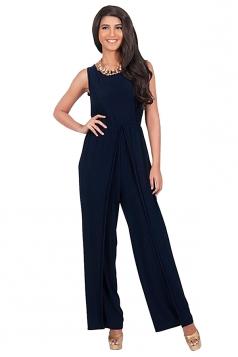 Womens High Waist Side Slit Sleeveless Palazzo Jumpsuit Navy Blue