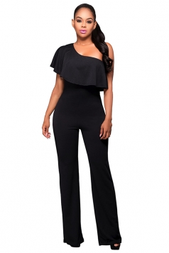 Womens One Shoulder Ruffled Plain Palazzo Jumpsuit Black