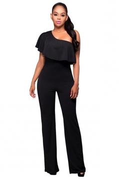 Womens One Shoulder Ruffled Plain Palazzo Jumpsuit Black