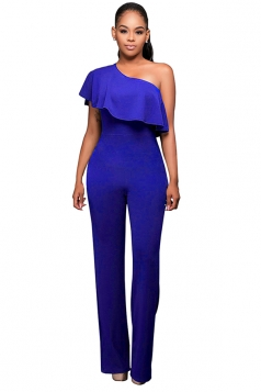 Womens One Shoulder Ruffled Plain Palazzo Jumpsuit Sapphire Blue