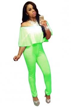 Womens Off Shoulder Ruffled Plain Pencil Jumpsuit Green
