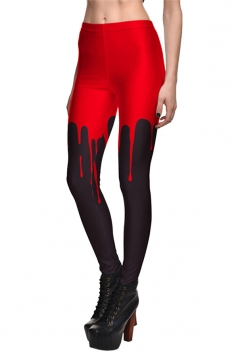 Womens Color Block Printed Quick Dry Ankle Length Leggings Red