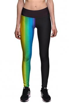 Womens Rainbow Printed Ankle Length High Waist Sports Leggings Black