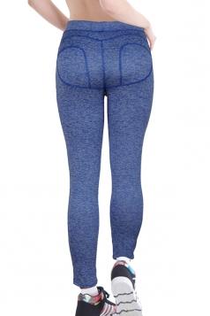 Womens Butt Lift Ankle Length Yoga Sports Leggings Blue