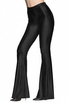 Womens High Waist Plain Liquid Bell Bottom Leggings Black