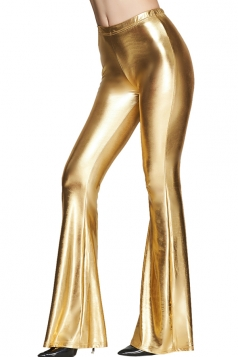 Womens High Waist Plain Liquid Bell Bottom Leggings Gold