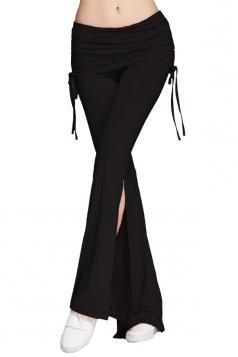 Womens Plain Double Drawstring Sides Slit Bell Bottom Yoga Pants Black
