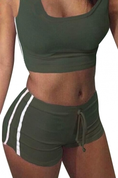 Womens Sports Crop Top&Drawstring Waist Shorts Suit Army Green