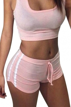 Womens Sports Crop Top&Drawstring Waist Shorts Suit Pink