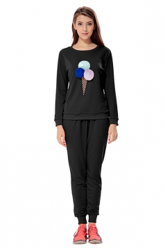 Womens Ice-scream Long Sleeve Leisure Pants Suit Black