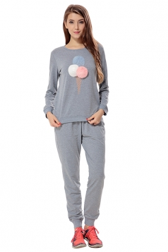 Womens Ice-scream Long Sleeve Leisure Pants Suit Gray