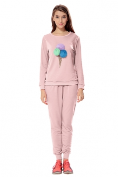 Womens Ice-scream Long Sleeve Leisure Pants Suit Pink