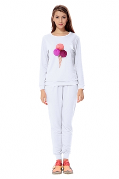 Womens Ice-scream Long Sleeve Leisure Pants Suit White