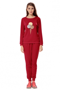 Womens Ice-scream Long Sleeve Leisure Pants Suit Ruby