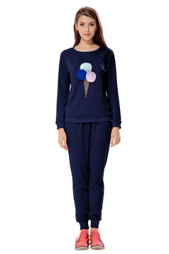 Womens Ice-scream Long Sleeve Leisure Pants Suit Navy Blue