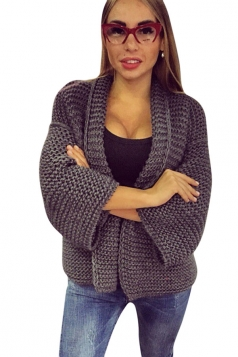 Womens Leisure Cable Knitted Plain Cardigan Sweater Gray