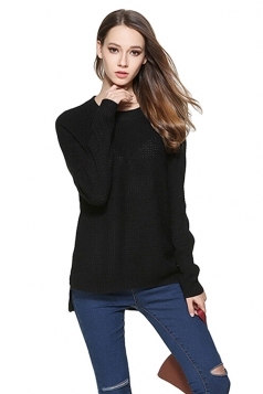 Womens High Low Crewneck Long Sleeve Plain Pullover Sweater Black