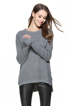 Womens High Low Crewneck Long Sleeve Plain Pullover Sweater Gray