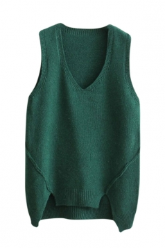 Womens V-neck High Low Plain Pullover Sweater Vest Green